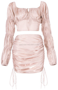 Puff Sleeve Ruched Two Piece Dress Pink