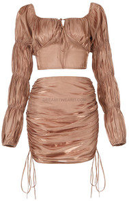 Puff Sleeve Ruched Two Piece Dress Brown