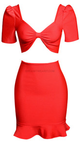 Short Sleeve Fluted Two Piece Dress Red