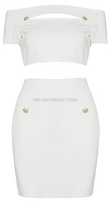 Short Sleeve Off Shoulder Two Piece Dress White