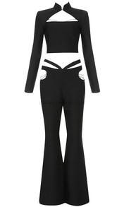 Long Sleeve Pearl Two Piece Jumpsuit Black