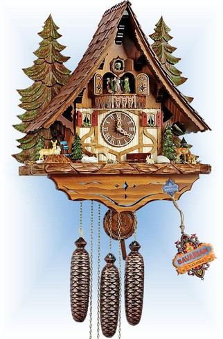Schneider | 8tmt-2654-9 | 18''H | Forest Wildlife | Chalet style | cuckoo clock | full view