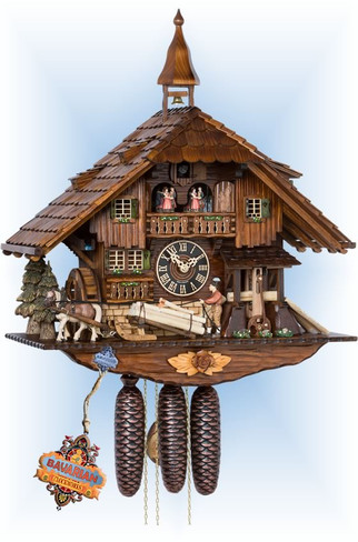 Hones | 86230t | 24''H | Saw Mill | Chalet style | cuckoo clock | full view
