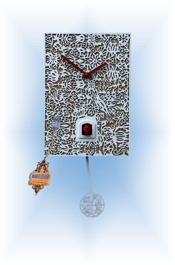 Rombach & Haas | snq1 | 12''H | White Silhoutte Q | Modern | cuckoo clock | full view