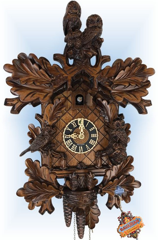 Hones | 179-4nu | 18''H | Watchful Owls | Traditional | cuckoo clock | full view