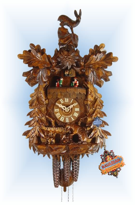 August Schwer   4.6510.01.c   17''H   Rabbit & Racoon   Traditional   cuckoo clock   full view