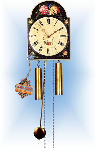 Rombach & Haas | 7285b | 10''H | Budding Black | Shield style | painted clock | full view