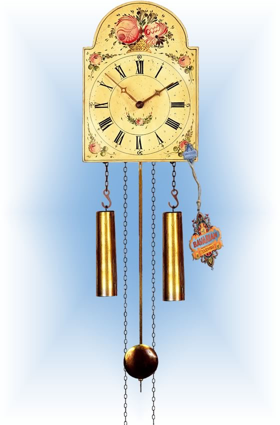 Rombach & Haas | 7373 | 15''H | Blooming Basket | Shield style | painted clock | full view