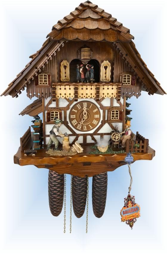 Schneider | 18''H | Spinning Wheel | Chalet style | cuckoo clock | full view