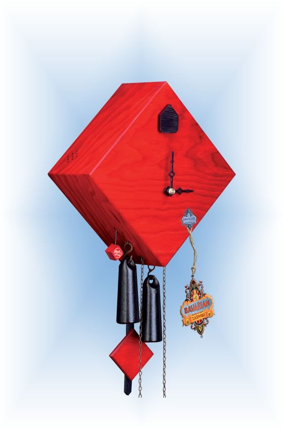 Rombach & Haas | ra13-3 | 10''H | Rhombus 1 Red | Modern | cuckoo clock | full view
