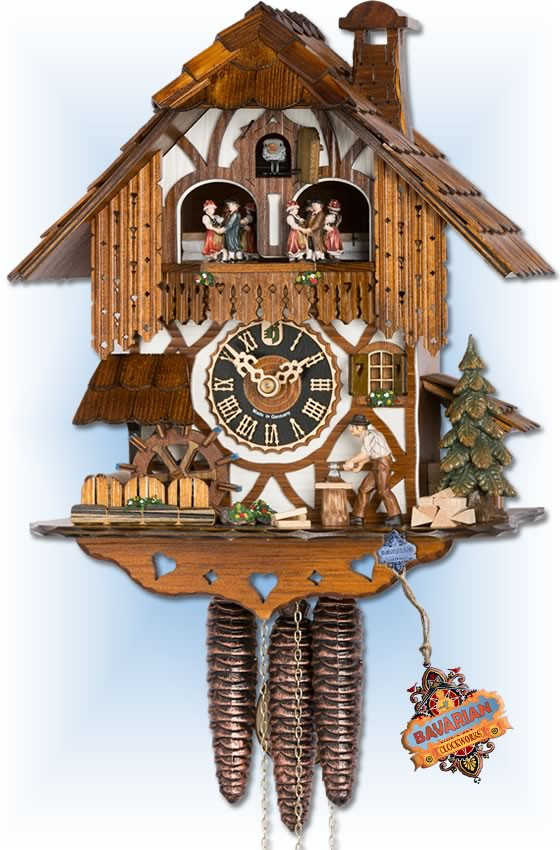 Hones | 678t | 12''H | Forest House | Chalet style | cuckoo clock | full view