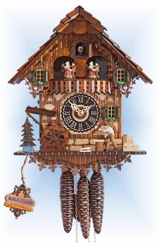 Hones | 696t | 12''H | Wood Mill | Chalet style | cuckoo clock | full view