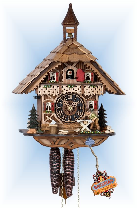Hones | 1258 | 13''H | Woodsman | Chalet style | cuckoo clock | full view