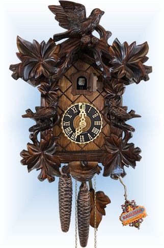 Hones | 10''H | Six Leaf Bird | Traditional | cuckoo clock | full view