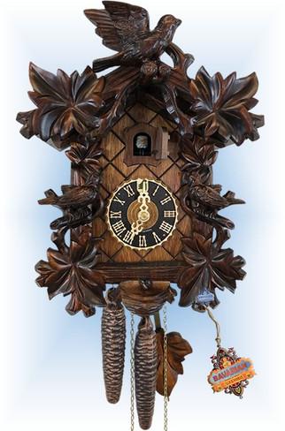Hones | 10''H | Six Leaf Bird | Traditional | cuckoo clock | full view