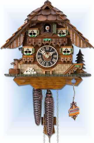 Hones | 1747 | 9''H | Black forest House | Chalet style | cuckoo clock | full view