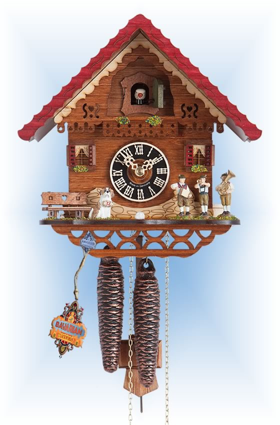 Hones | 1761 | 9''H | Jolly Band | Chalet style | cuckoo clock | full view