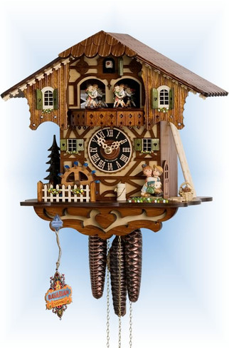 Hones | 6205t | 11''H | First Kiss | Chalet style | cuckoo clock | full view