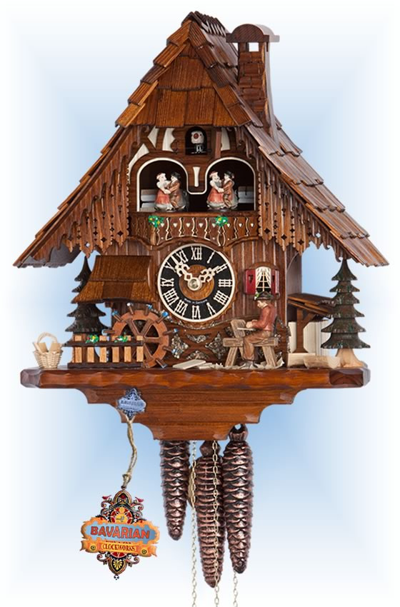 Hones | 6266t | 14''H | Wood Worker | Chalet style | cuckoo clock | full view
