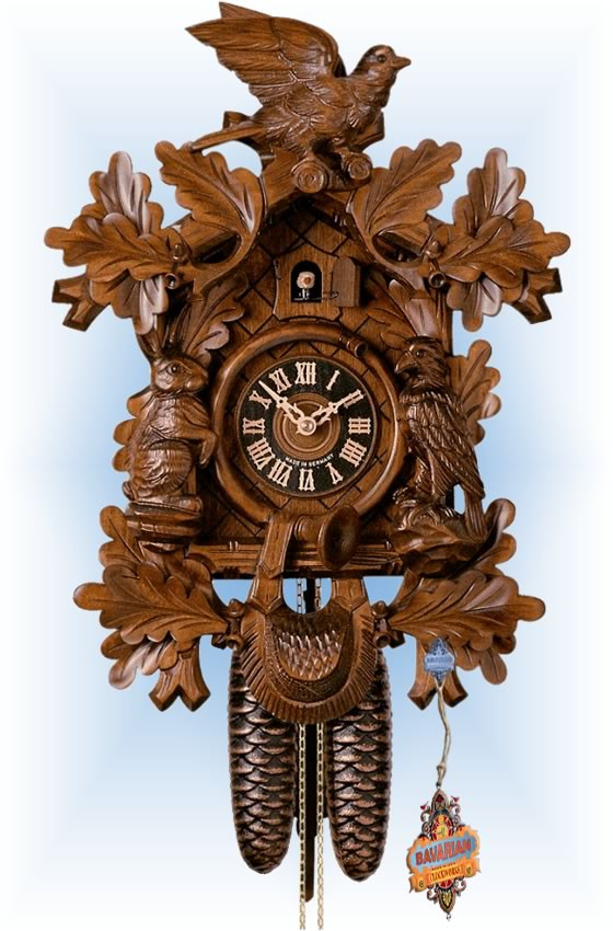 Hones | 8277-4nu | 16''H | Rabbit Hunter | Traditional | cuckoo clock | full view