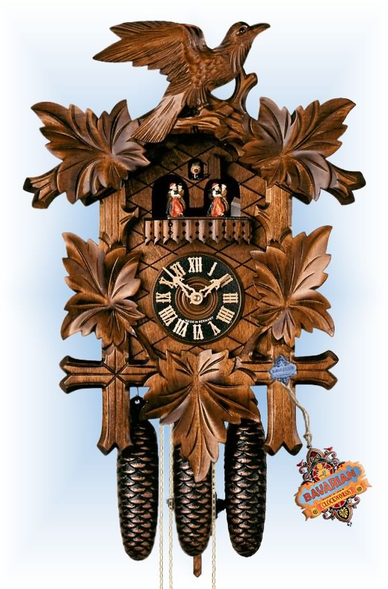 Hones | 8600-5tnu | 19''H | Five Leaves Bird | Traditional | cuckoo clock | full view