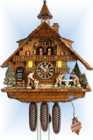 Hones cuckoo clocks | 86275t | 22''H | Forest Millhouse | Chalet style | lit up
