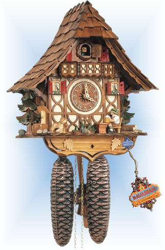 Schneider | 8t-1673-9 | 12''H | Beer Drinker | Chalet style | cuckoo clock | full view