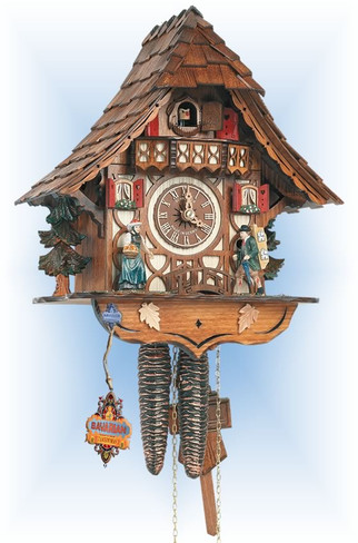 Schneider | 8t-1686-9 | 13''H | Clock Peddler | Chalet style | cuckoo clock | full view