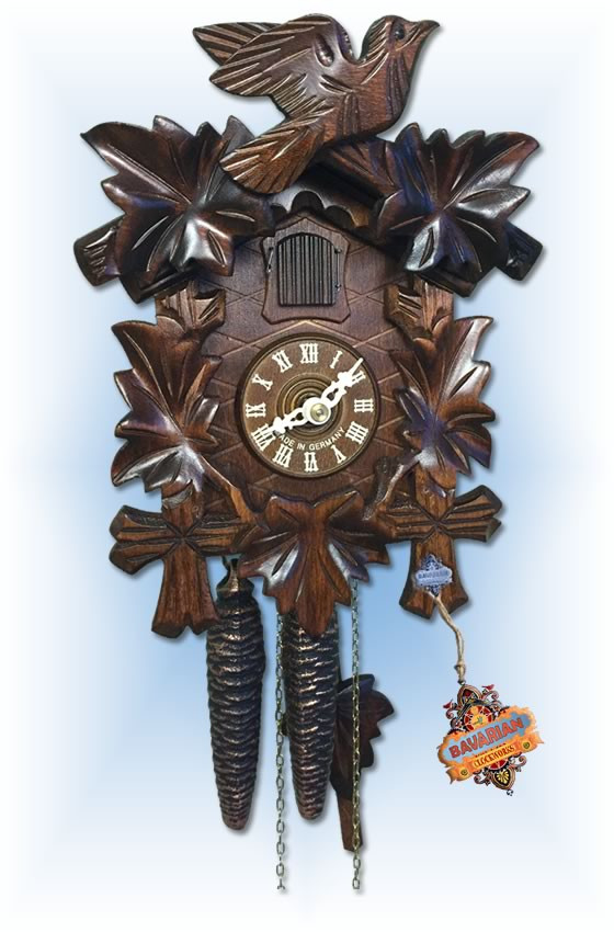 Sternreiter | 1200 | 9''H | Leaf & Bird | Traditional | cuckoo clock | full view
