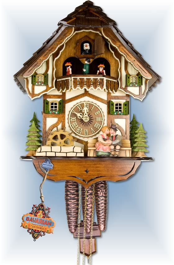 Adolf Herr | 398/1-MT | 13''H | Gentle Kiss | Chalet style | cuckoo clock | full view
