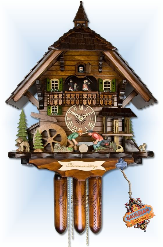 Adolf Herr | 870/1-8TMT | 22''H | Black Forest Saw Mill | Chalet style | coo coo clock | full view
