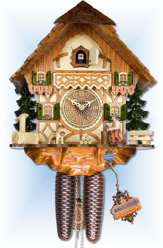 Adolf Herr   317/1-8T   14''H   Wood Chopper   Chalet   cuckoo clock   full view