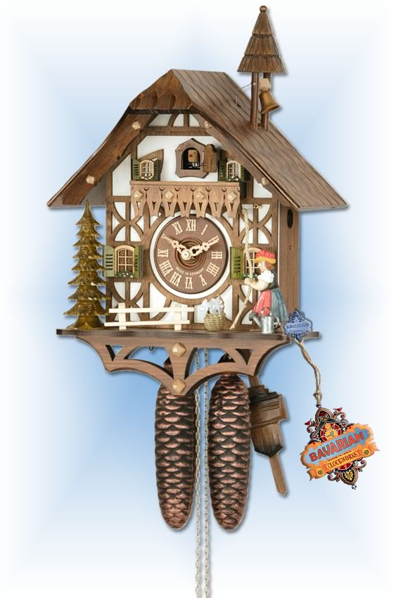 Hekas | 877 | 15''H | Forest Bell Ringer | Chalet style | cuckoo clock | full view