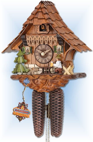 Hekas | 889 | 10''H | Pitched Roof | Chalet style | cuckoo clock | full view