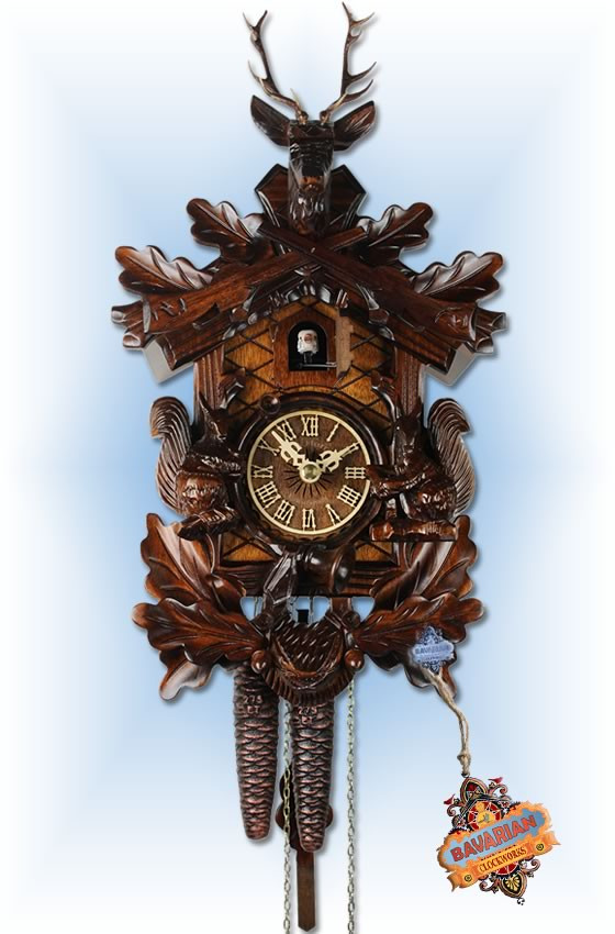 Adolf Herr |286-1 | 14''H | Buck & Squirrels | Traditional coo coo clock | full view
