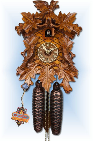 Adolf Herr | 104/1-8T | 12''H | Three Cuckoos | Traditional | coo coo clock | full view