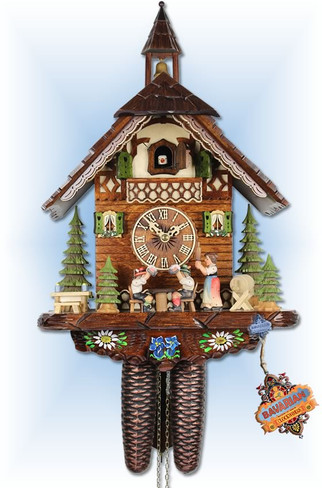 Adolf Herr   314/12-8t   17''H   Tipsy Bros   Chalet style   cuckoo clock   full view