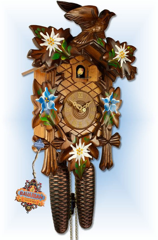 Adolf Herr | 372/1MT | 12''H | Alpine Flowers | Traditional | cuckoo clock | angle 1