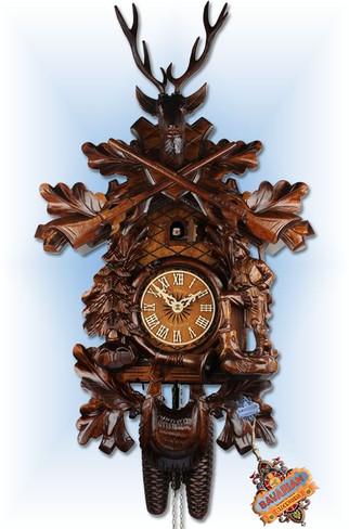 Adolf Herr  573-1-8T   23''H   The Deer Hunter   Traditional   cuckoo clock   full view