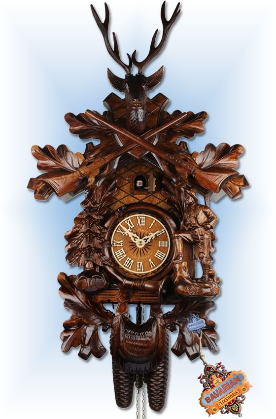 Adolf Herr |573-1-8T | 23''H | The Deer Hunter | Traditional | cuckoo clock | full view