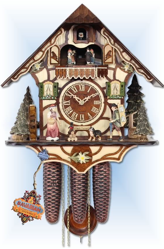 Adolf Herr |531/1 8TMT-W | 15''H | The Peddler | Chalet Style | cuckoo clock | full view