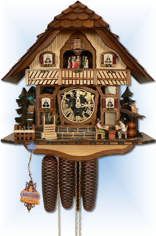 Anton Schneider 8 Day Clear Dial 17'' cuckoo clock - full view