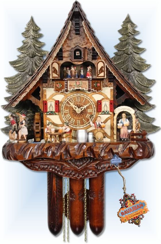 cuckoo clocks | Chalet style | Adolf Herr | 935/1 8tmt |  Willy The Brewmeister | 19''H | front view