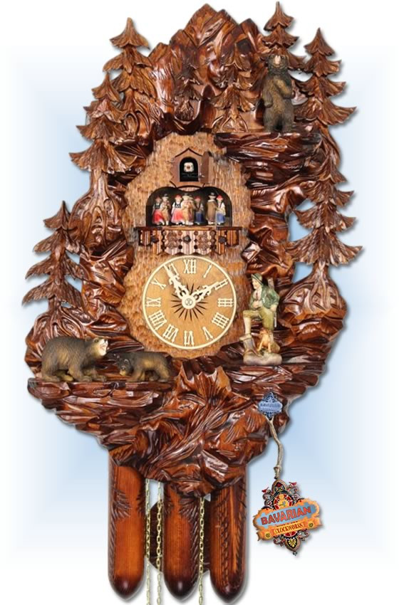 Adolf Herr | UK30 8TMT | 22 inch | Bear Mountain | Hand Carved | cuckoo clock | full view