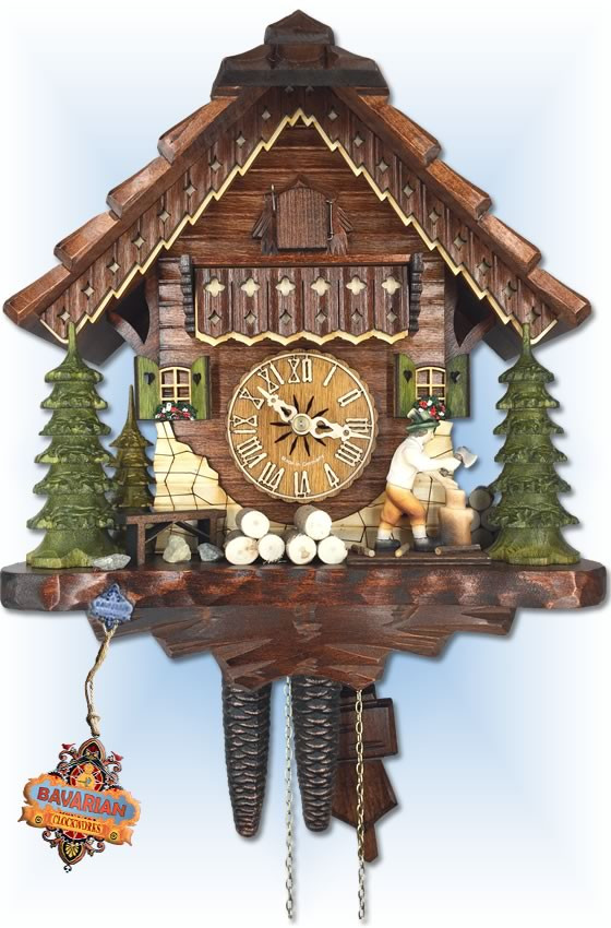 Hekas | 1679 EX | 11 inch | Wood Cutter | Chalet | cuckoo clock | full view