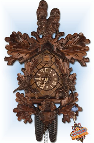 Rombach and Haas   3437   19 inch   Owl and Chicks   Traditional   cuckoo clock   full view