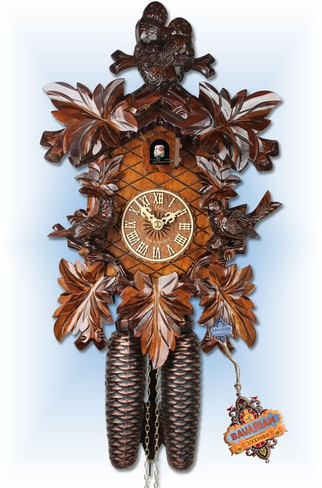 Owl and Bird cuckoo clock - full view