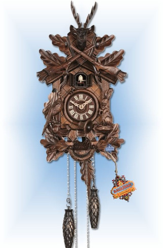 Rabbit Pheasant cuckoo clock - full view