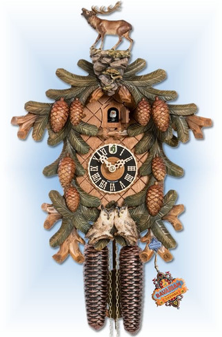 Stag and Owls cuckoo clock