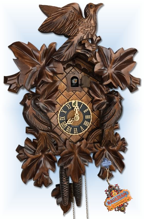 Hones | 101-4nu | 16''H | 7 Leaf Bird | Traditional | cuckoo clock | full view
